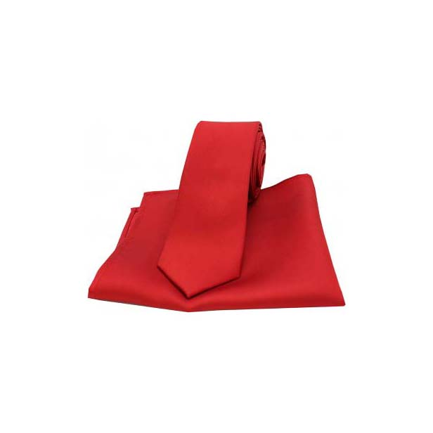 Red Satin Silk Matching Thin Tie and Pocket Square