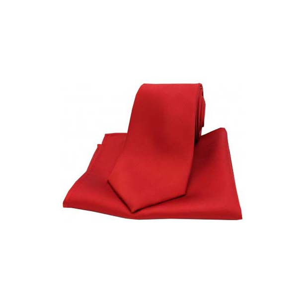 Red Satin Silk Matching Tie and Pocket Square