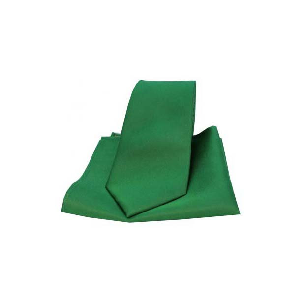 Emerald Green Satin Silk Matching Tie and Pocket Square