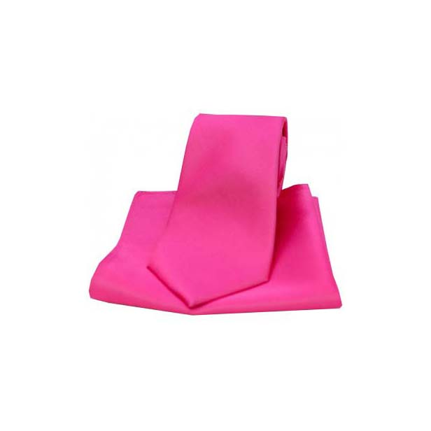 Fuchsia Satin Silk Matching Tie and Pocket Square