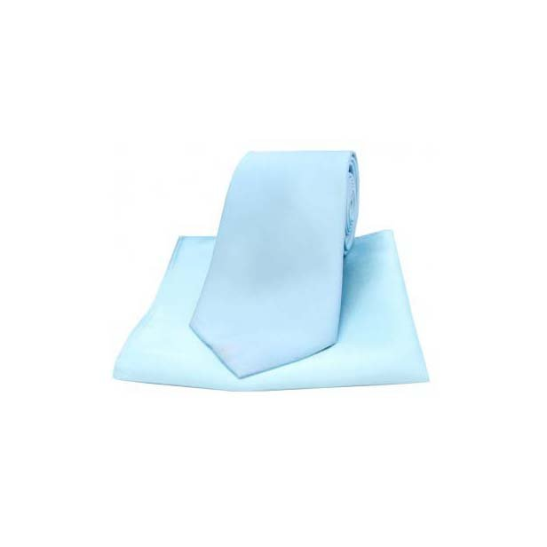 Sky Blue Satin Silk Matching Tie and Pocket Square