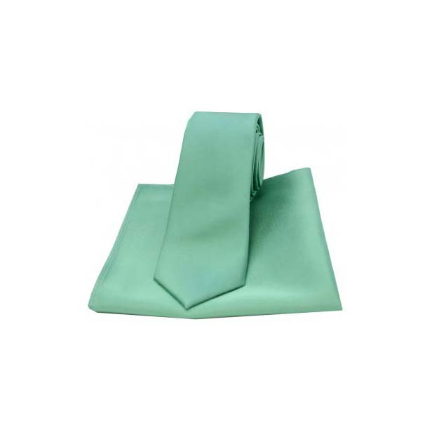Mint Satin Silk Matching Thin Tie and Pocket Square