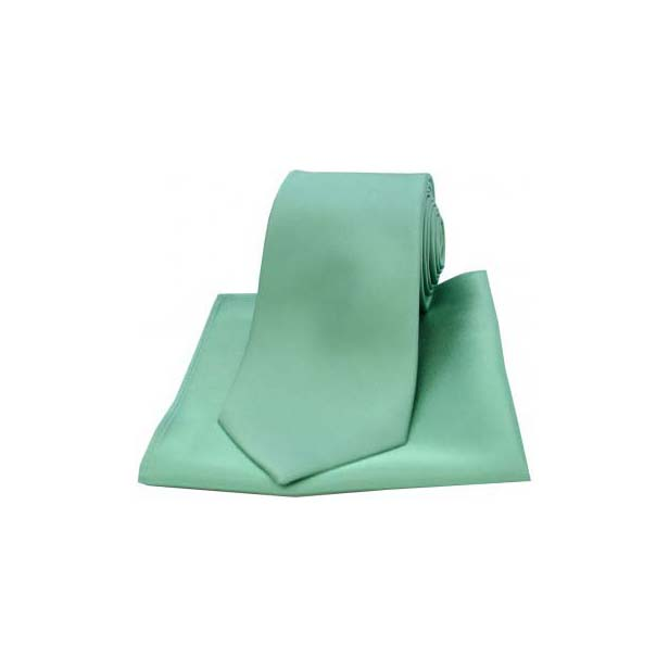 Mint Satin Silk Matching Tie and Pocket Square