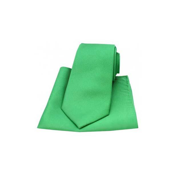 Emerald Green Diagonal Twill Woven Silk Tie and Pocket Square