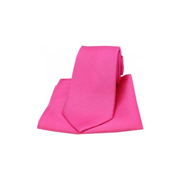 Fuchsia Diagonal Twill Woven Silk Tie and Pocket Square
