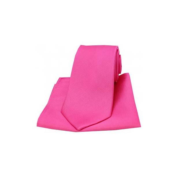 Fuchsia Diagonal Twill Woven Silk Tie and Pocket Square