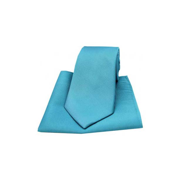 Petrol Blue Diagonal Twill Woven Silk Tie and Pocket Square