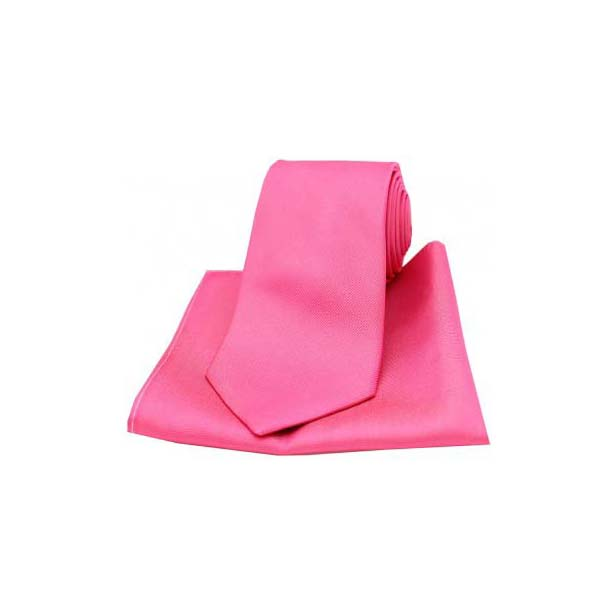 Shocking Pink Diagonal Twill Woven Silk Tie and Pocket Square