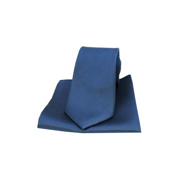 Denim Blue Diagonal Twill Woven Silk Tie and Pocket Square