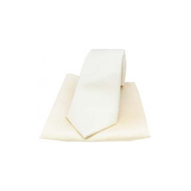Ivory Diagonal Twill Woven Silk Tie and Pocket Square