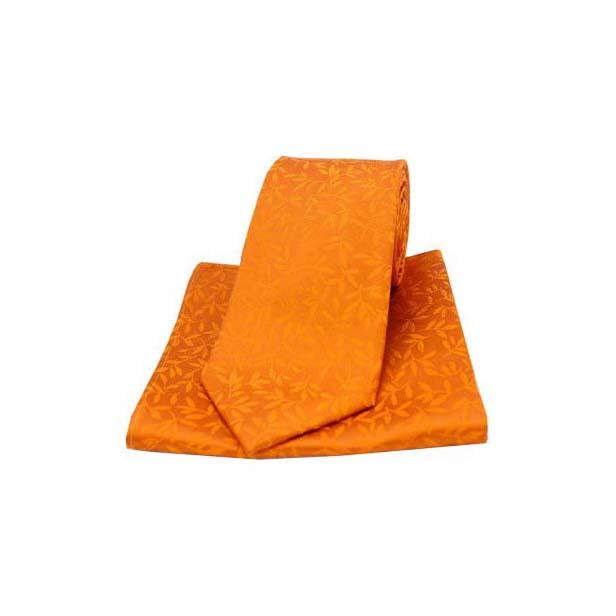 Orange Silk Jacquard Leaf Design Tie and Pocket Square