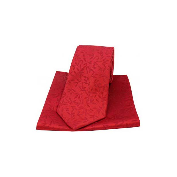 Red Silk Jacquard Leaf Design Tie and Pocket Square