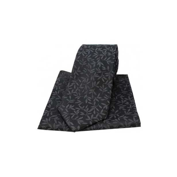 Black Silk Jacquard Leaf Design Tie and Pocket Square