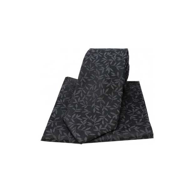 Black Silk Jacquard Leaf Design Tie and Pocket Square