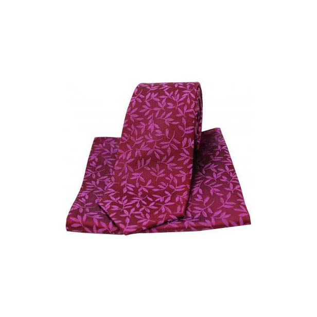 Plum Silk Jacquard Leaf Design Tie and Pocket Square
