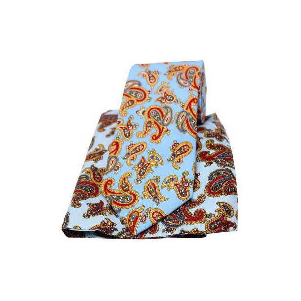 Large Paisley Print on Sky Blue Matching Silk Tie and Pocket Square