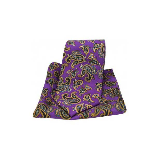Large Paisley Print on Purple Matching Silk Tie and Pocket Square