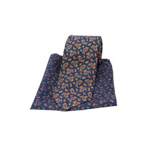 Vintage Small Paisley Print on Blue Matching Silk Tie and Pocket Square