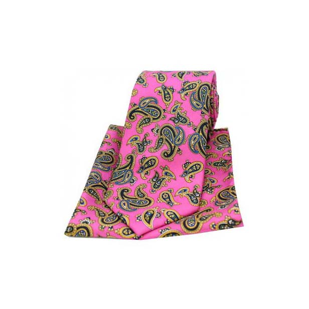 Large Paisley On Fuchsia Matching Silk Tie and Pocket Square