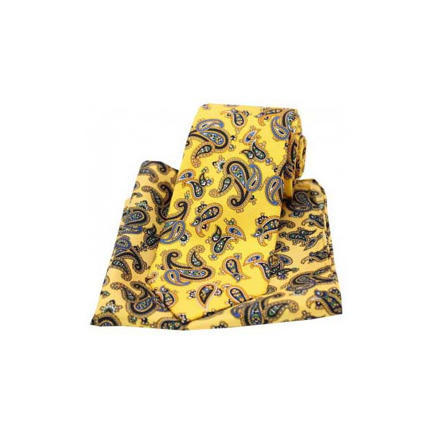 25e6df5ee530 Large Paisley On Gold Matching Silk Tie and Pocket Square. SKU:  SAX_TPS0073. £38.99