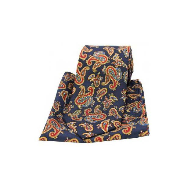 Large Paisley on a Navy Matching Silk Tie and Pocket Square