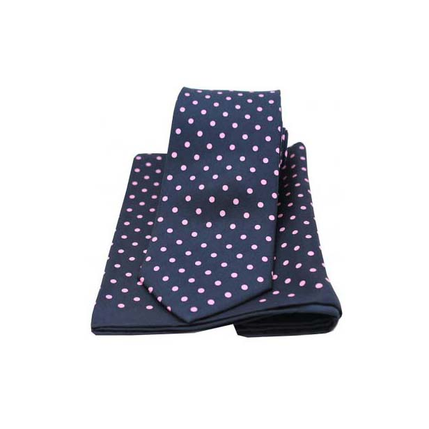 Navy and Pink Matching Silk Tie and Pocket Square