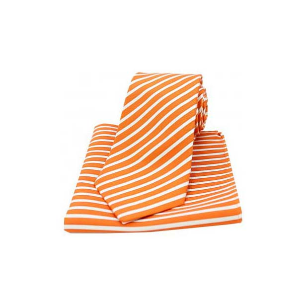 Orange and White Striped Matching Silk Tie and Pocket Square