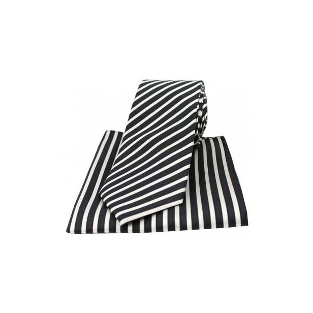 Black and White Striped Matching Silk Tie and Pocket Square