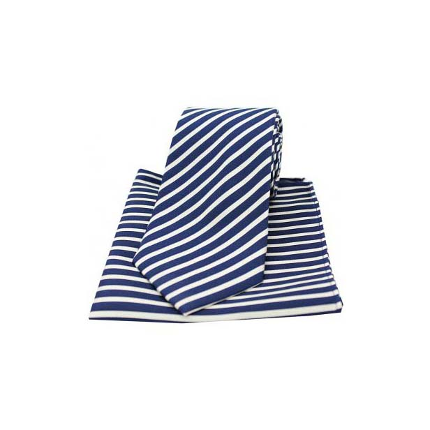 Navy and White Striped Matching Silk Tie and Pocket Square