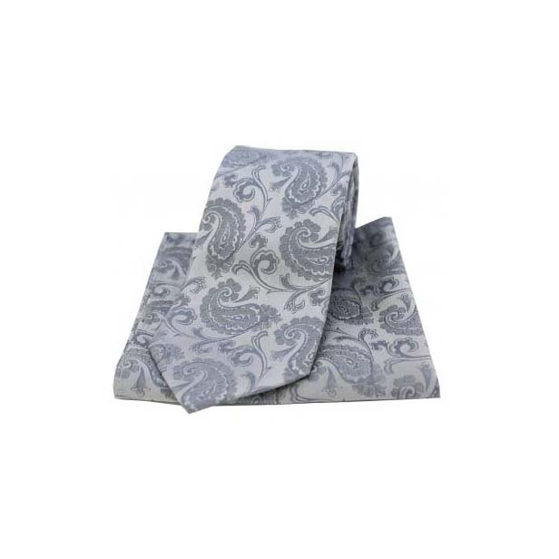 Silver Silk Paisley Tie and Pocket Square