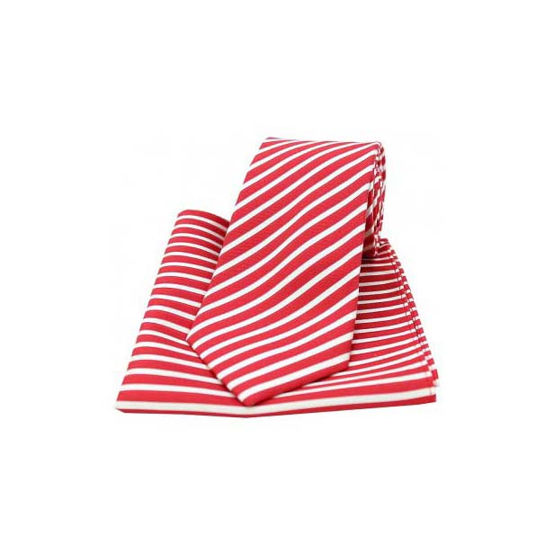 Red and White Striped Matching Silk Tie and Pocket Square