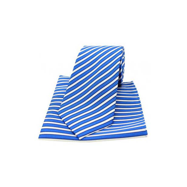 Royal Blue and White Striped Matching Silk Tie and Pocket Square