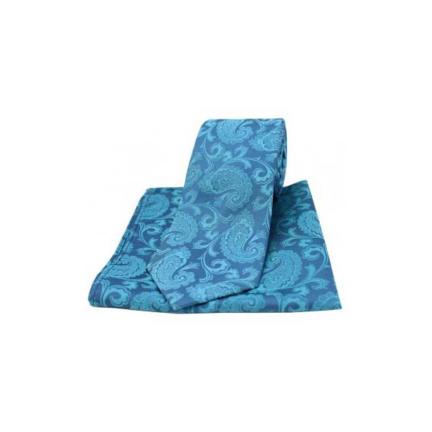 Cyan Woven Silk Paisley Tie and Pocket Square