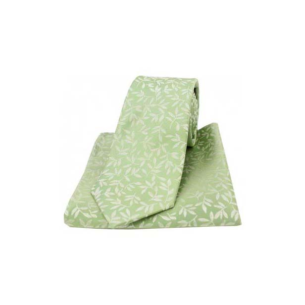 Mint Silk Jacquard Leaf Design Tie and Pocket Square