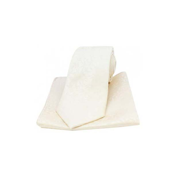 Ivory Silk Jacquard Leaf Design Tie and Pocket Square