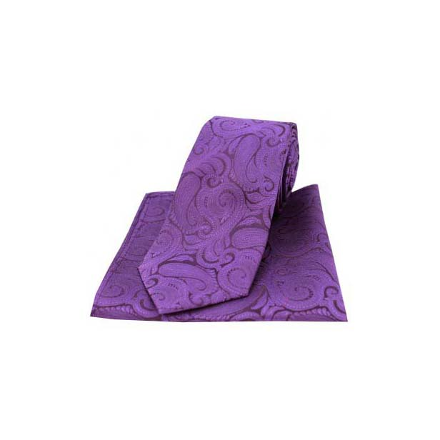 Purple Silk Paisley Tie and Pocket Square