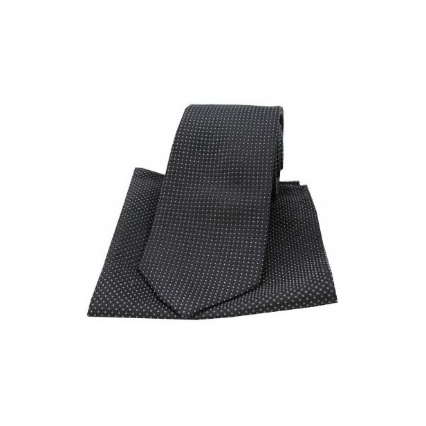 Black and White Pin Dots Matching Silk Tie and Pocket Square
