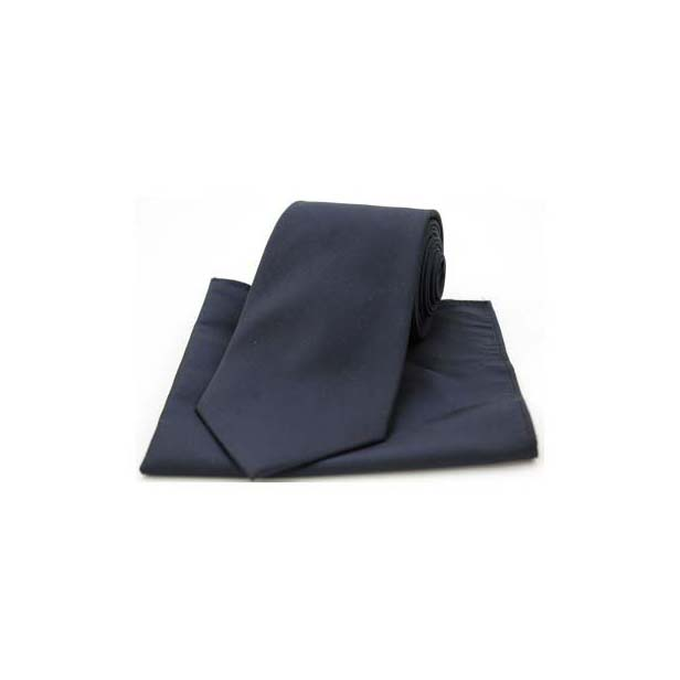 Navy Tonic Silk Tie and Pocket Square