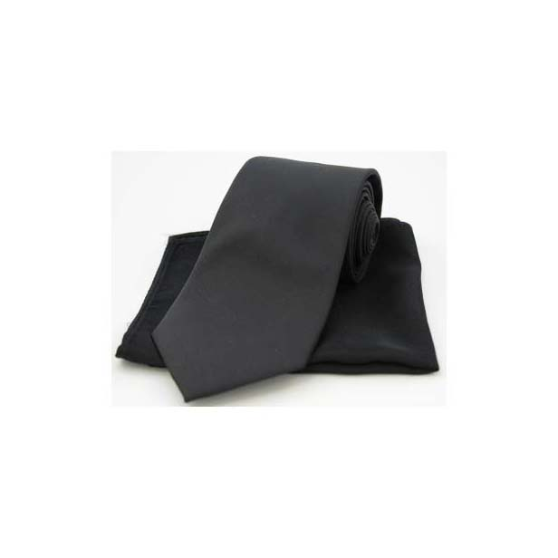 Black Tonic Matching Silk Tie and Pocket Square