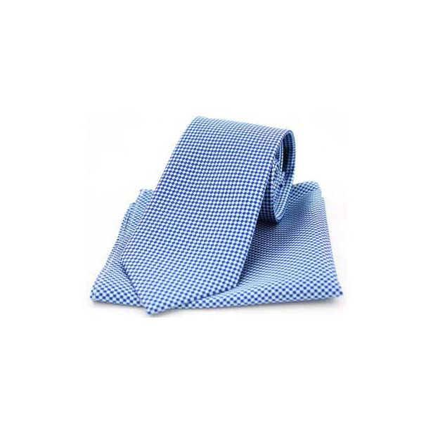 Navy and Sky Diamonds Matching Silk Tie and Pocket Square