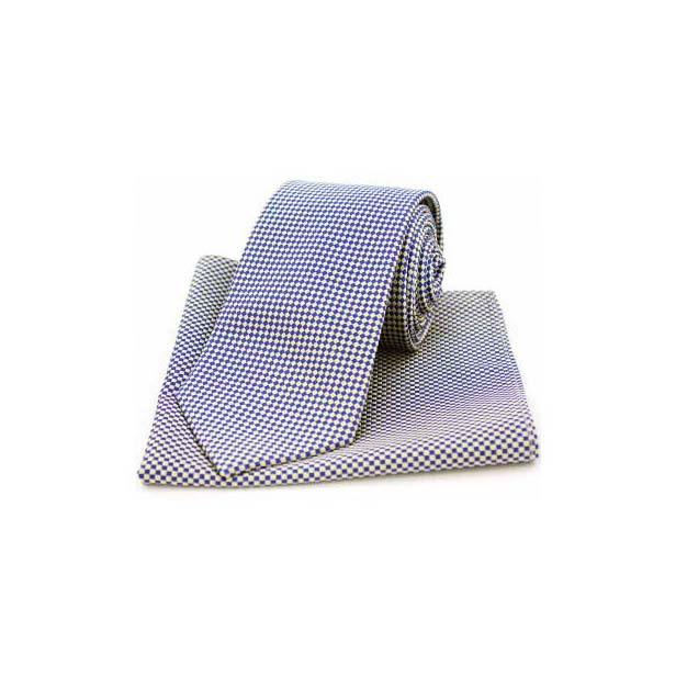 Navy and Cream Diamonds Matching Silk Tie and Pocket Square