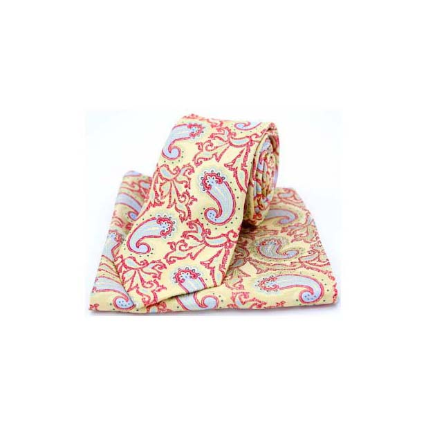 Edwardian Paisley on Gold and Red Silk Tie and Pocket Square