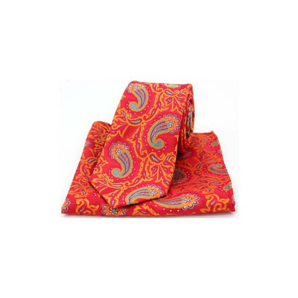 Edwardian Paisley on Red and Orange Silk Tie and Pocket Square