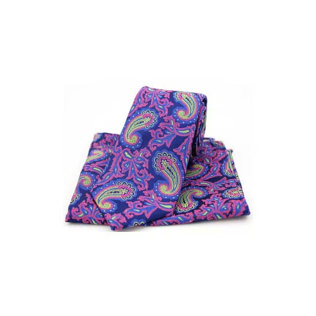 Edwardian Paisley on Navy and Pink Silk Tie and Pocket Square