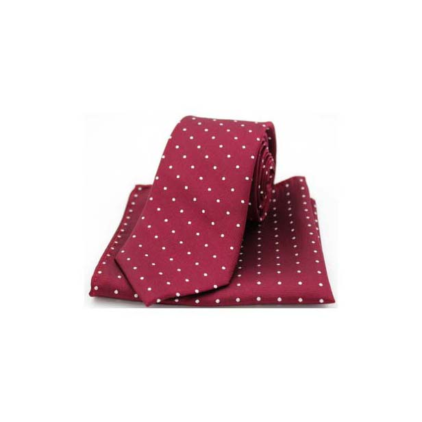 Wine and White Pin Dot Matching Silk Tie and Pocket Square