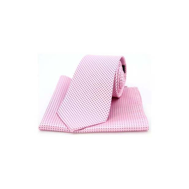 Pink and Black Pin Dot Matching Silk Tie and Pocket Square