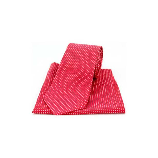 Red and White Pin Dot Matching Silk Tie and Pocket Square