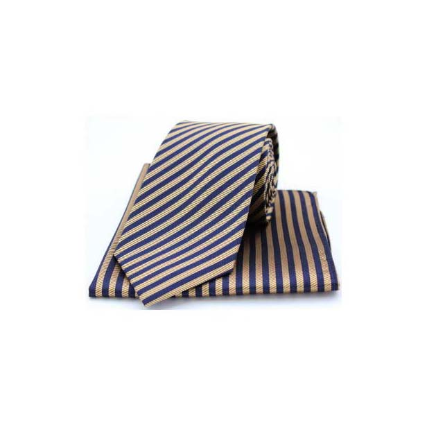 Gold and Navy Striped Matching Silk Tie and Pocket Square