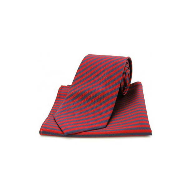 Navy and Red Striped Matching Silk Tie and Pocket Square