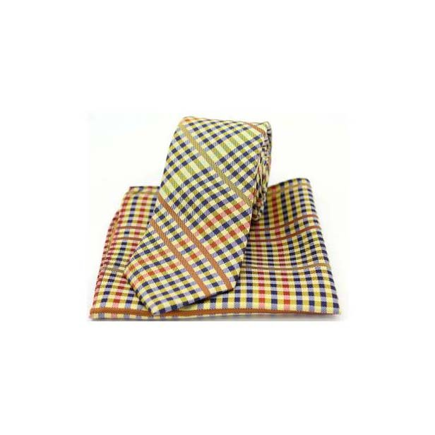 Multi Coloured Tartan Pattern on Gold Matching Silk Tie and Pocket Square